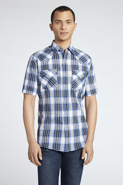 Short Sleeve Plaid Shirt in Turquoise Plaid