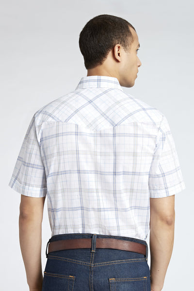Short Sleeve Plaid Shirt in White Plaid