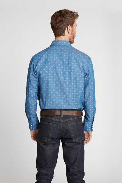 Black Label Premium Denim Paisley Western Shirt