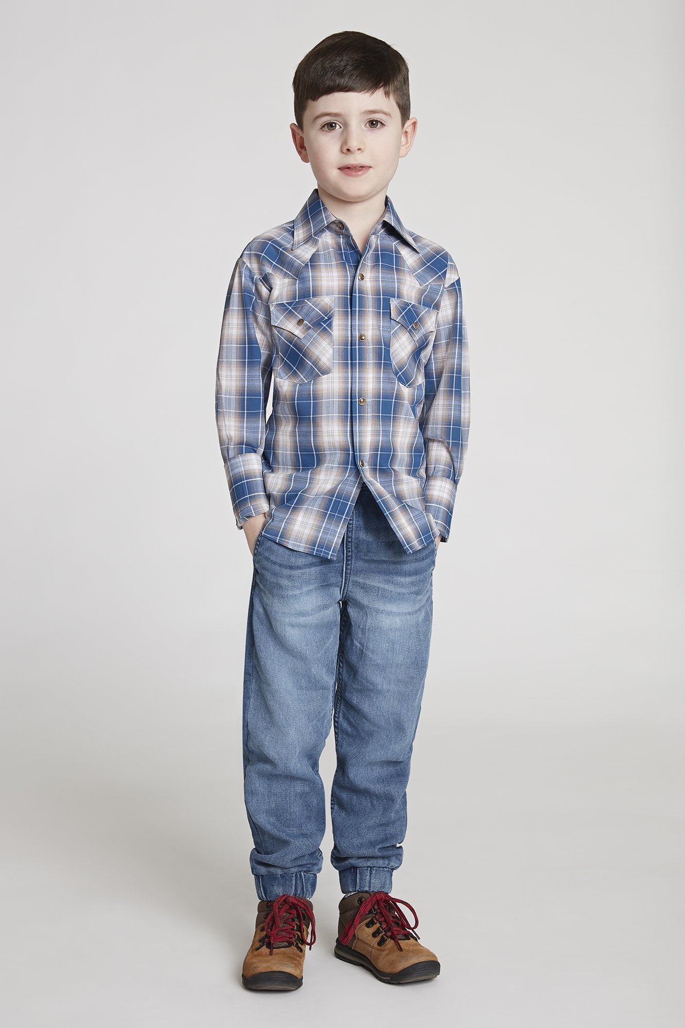 Boy's Long Sleeve Classic Plaid Shirt in Blue Plaid