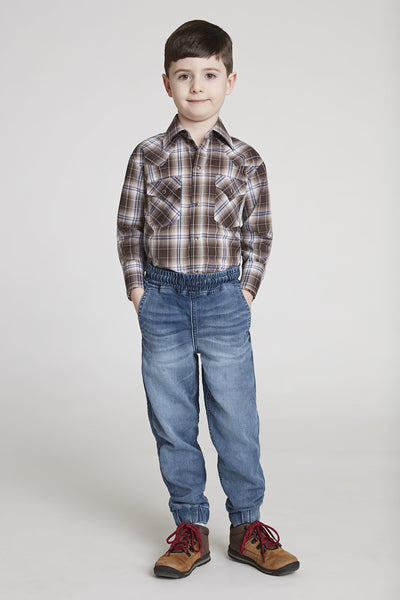 Boy's Long Sleeve Classic Plaid Shirt in Brown Plaid