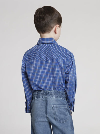 Boy's Long Sleeve Mini Check Print Shirt in Blue Check