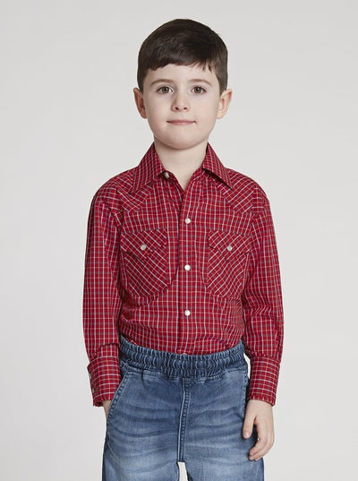 Boy's Long Sleeve Mini Check Print Shirt in Burgundy Check