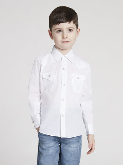 Boy's Long Sleeve Solid White Western Shirt in White