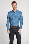 Black Label Premium Denim Paisley Western Shirt in Blue | Ely Cattleman