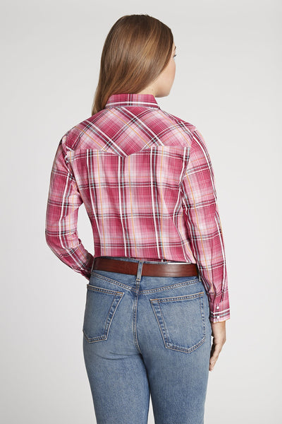 Women's Long Sleeve Textured Plaid Shirt With Embroidery in Magenta Plaid