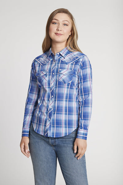 Women's Long Sleeve Textured Plaid Shirt With Embroidery in Royal Plaid