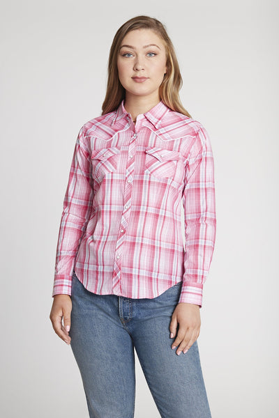 Women's Long Sleeve Western Plaid Shirt in Pink Lurex Plaid