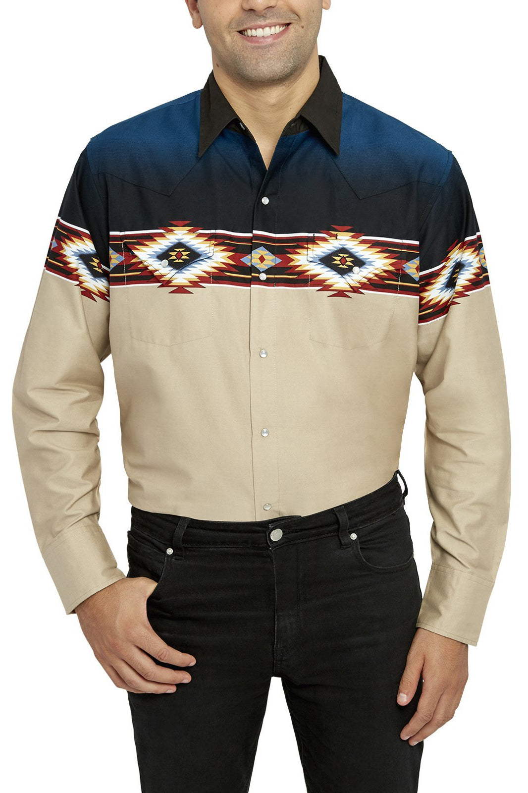 Men's Long Sleeve Aztec Border Print Shirt | Ely Cattleman