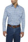 Men's Long Sleeve Aztec Print Shirt in Blue | Ely Cattleman