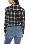 Women's Long Sleeve Boyfriend Flannel Shirt in Black | Ely Cattleman