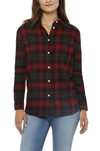 Women's Long Sleeve Boyfriend Flannel Shirt in Red | Ely Cattleman