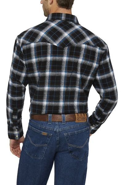 Men's Long Sleeve Brawny Flannel Shirt in Black | Ely Cattleman