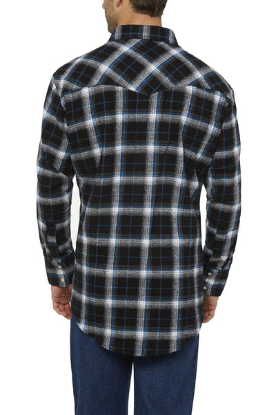 Ely Cattleman Long Sleeve Brawny Flannel Shirt in Black Plaid
