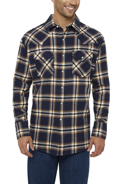 Ely Cattleman Long Sleeve Brawny Flannel Shirt in Navy Plaid