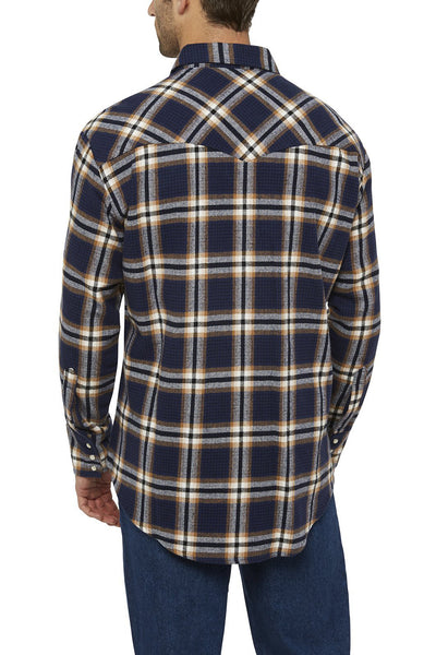 Men's Long Sleeve Brawny Flannel Shirt in Navy | Ely Cattleman