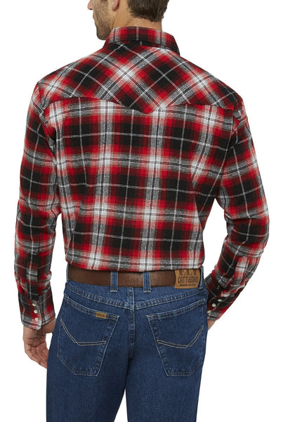 Ely Cattleman Long Sleeve Brawny Flannel Shirt in Red Plaid