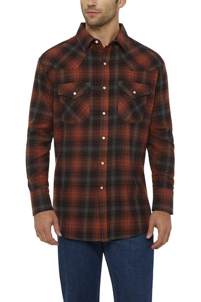 Ely Cattleman Long Sleeve Brawny Flannel Shirt in Rust Plaid