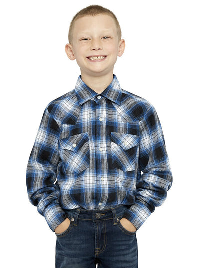 Boy's Long Sleeve Cotton Flannel Shirt in Blue Plaid | Ely Cattleman