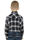 Boy's Long Sleeve Cotton Flannel Shirt in Black Plaid | Ely Cattleman