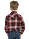 Boy's Long Sleeve Cotton Flannel Shirt in Flame Plaid | Ely Cattleman