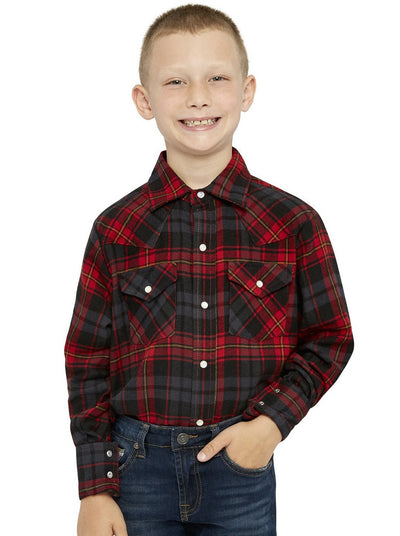 Boy's Long Sleeve Cotton Flannel Shirt in Red Plaid | Ely Cattleman