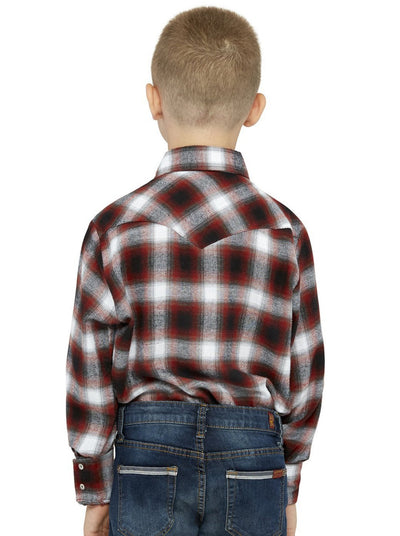 Boy's Long Sleeve Cotton Flannel Shirt in Rust Plaid | Ely Cattleman
