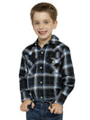Boy's Long Sleeve Cotton Flannel Shirt in Midnight Plaid | Ely Cattleman