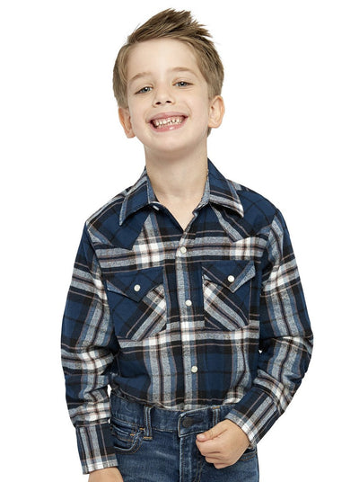 Boy's Long Sleeve Cotton Flannel Shirt in Navy Plaid | Ely Cattleman