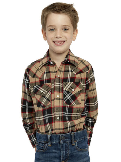 Boy's Long Sleeve Cotton Flannel Shirt in Tan Plaid | Ely Cattleman