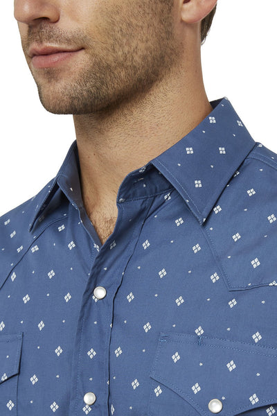 Men's Long Sleeve Diamond Print Shirt in Blue | Ely Cattleman