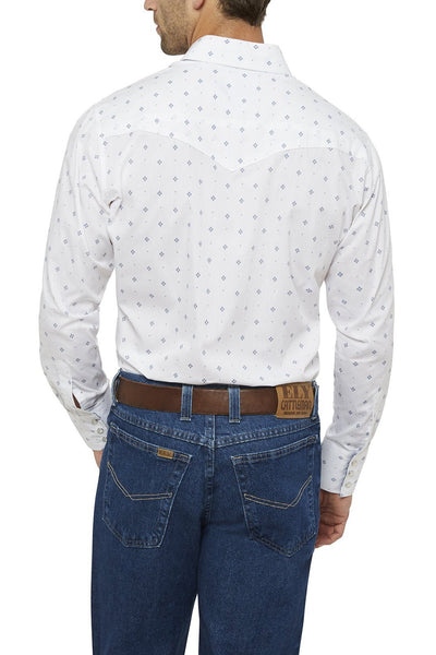 Men's Long Sleeve Diamond Print Shirt in White | Ely Cattleman