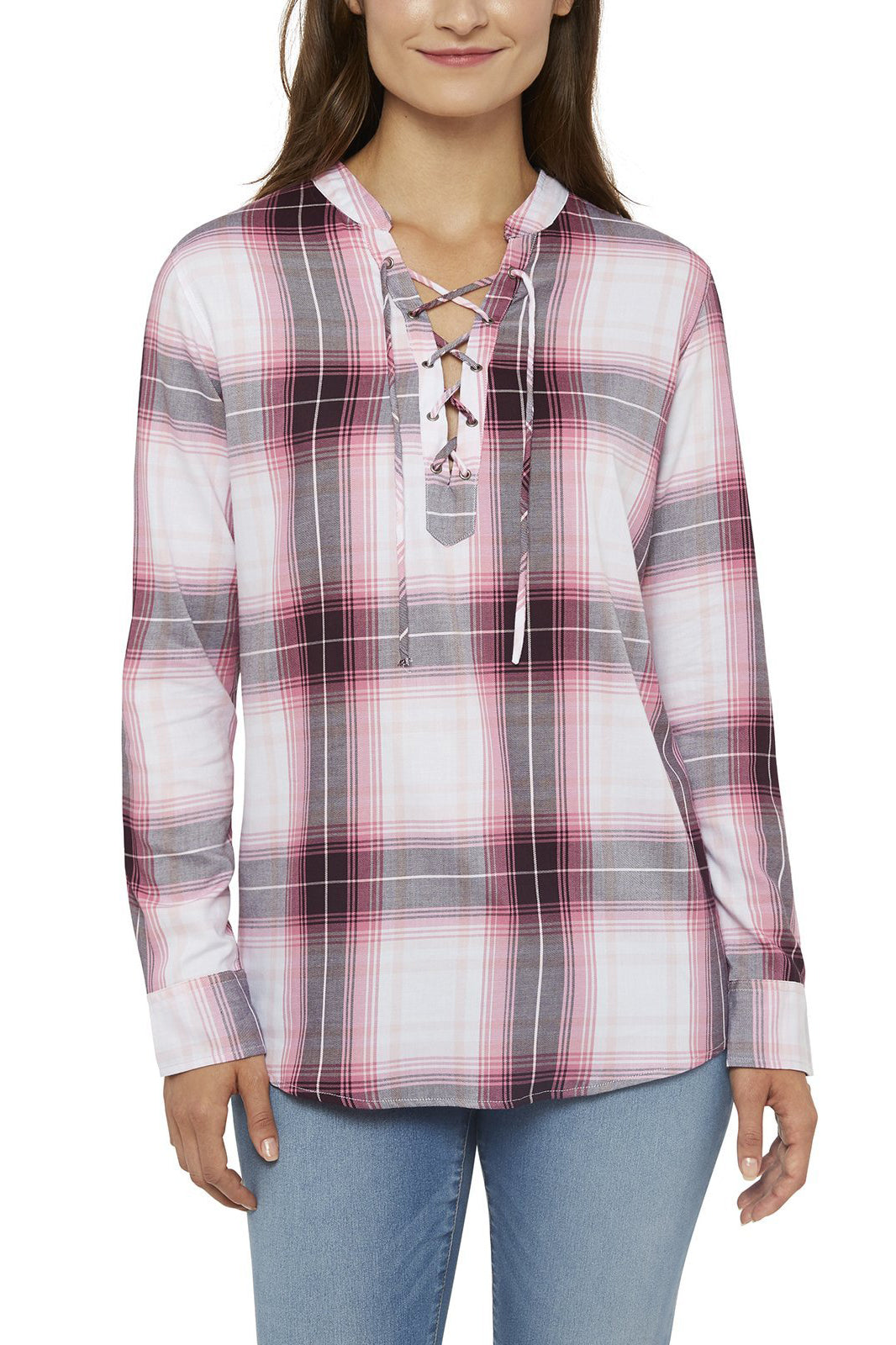 Women's Long Sleeve Draped Shirt With Lace-Front Neck in Pink Plaids | Ely Cattleman