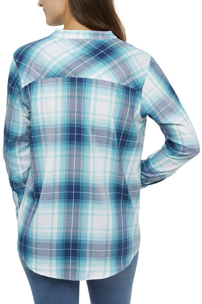 Women's Long Sleeve Draped Shirt With Lace-Front Neck in Teal Plaids | Ely Cattleman