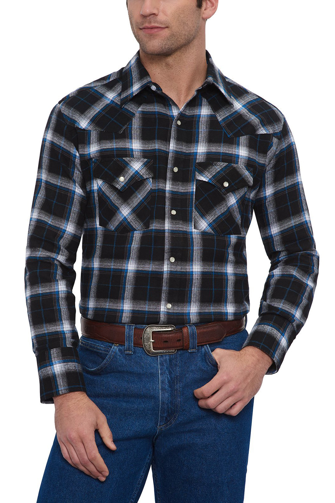 Men's Long Sleeve Flannel Plaid Shirt in Cobalt | Ely Cattleman