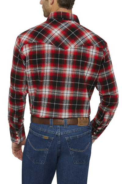 Men's Long Sleeve Flannel Plaid Shirt in Crimson | Ely Cattleman