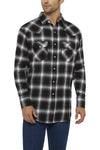 Ely Cattleman Long Sleeve Flannel Plaid Shirt in Black Plaid