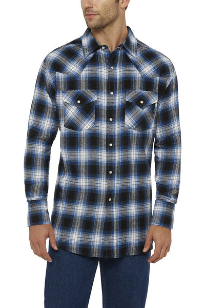 Ely Cattleman Long Sleeve Flannel Plaid Shirt in Blue Plaid