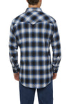 Men's Long Sleeve Flannel Plaid Shirt in Blue | Ely Cattleman