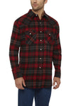 Men's Long Sleeve Flannel Plaid Shirt in Red | Ely Cattleman