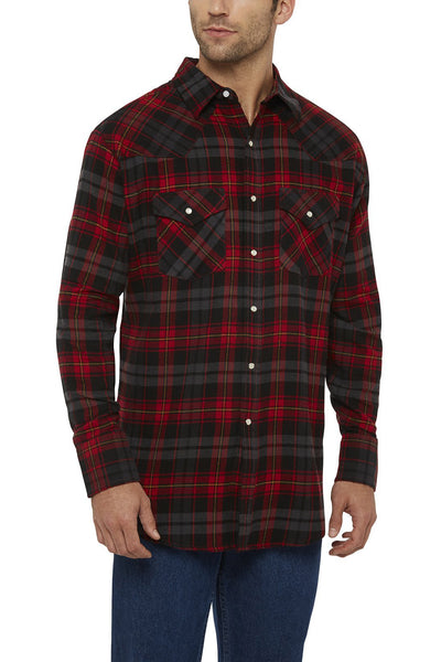 Ely Cattleman Long Sleeve Flannel Plaid Shirt in Red Plaid