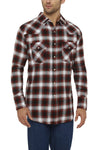 Men's Long Sleeve Flannel Plaid Shirt in Rust | Ely Cattleman