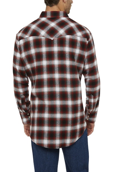 Ely Cattleman Long Sleeve Flannel Plaid Shirt in Rust Plaid