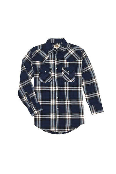 Men's Long Sleeve Flannel Plaid Shirt in Navy | Ely Cattleman
