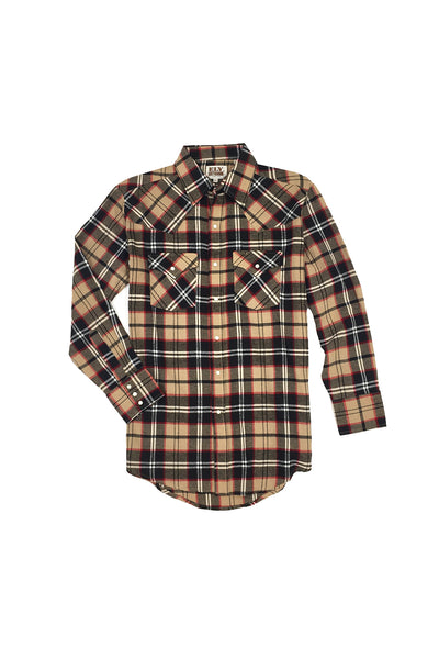 Men's Long Sleeve Flannel Plaid Shirt in Tan | Ely Cattleman