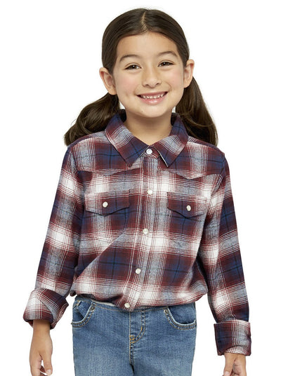 Girl's Long Sleeve Flannel Shirt in Burgundy | Ely Cattleman