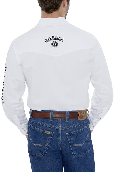 Men's Long Sleeve Jack Daniel's Western Shirt in White | Ely Cattleman