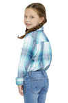 Girl's Long Sleeve Plaid Shirt in Teal | Ely Cattleman