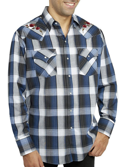 Men's Long Sleeve Plaid Shirt With Rose Embroidery in Navy Plaid | Ely Cattleman