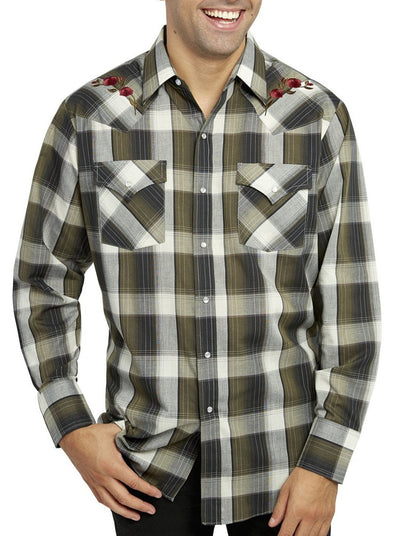 Men's Long Sleeve Plaid Shirt With Rose Embroidery in Olive Plaid | Ely Cattleman